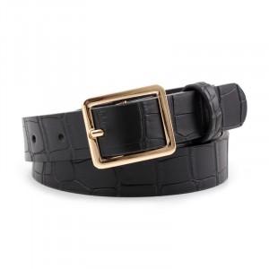 Ladies Square Buckle Belt With Crocodile Pattern - Black
