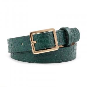 Ladies Square Buckle Belt With Crocodile Pattern - Dark Green