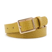 Ladies Square Buckle Belt With Crocodile Pattern - Yellow