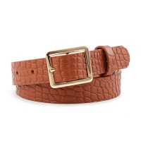 Ladies Square Buckle Belt With Crocodile Pattern - Light Brown