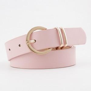 Ladies Elegant Gold Buckle Casual Belt - Pink