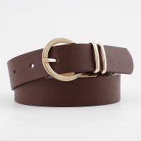 Ladies Elegant Gold Buckle Casual Belt - Coffee