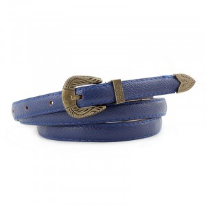Ladies Casual Belt With Retro Carved Bronze Buckle - Blue