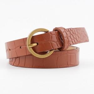 Bronze Round Buckle Textured Belt - Light Brown