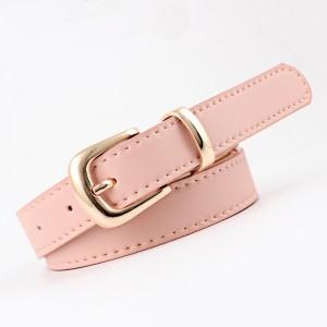 Gold Buckle Simple Pure Color Ladies Belt - Pink
