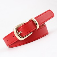 Gold Buckle Simple Pure Color Ladies Belt - Red