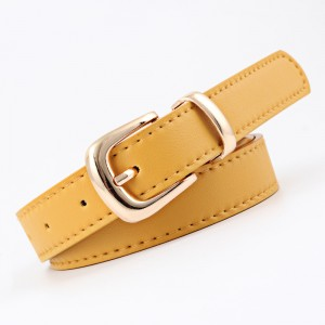 Gold Buckle Simple Pure Color Ladies Belt - Yellow