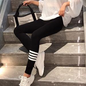 Contrast Printed Multi Purpose Yoga Prints Bottom Trousers - Black