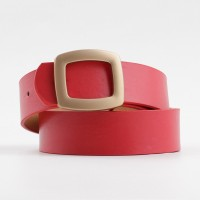 Elegant Ladies Belt With Matte Gold Buckle - Red