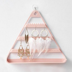 Triangle Three Layered Creative Design Bedroom Storage Jewellery Storage Rack - Pink