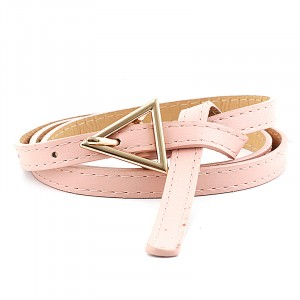 Girls Thin Leather Belt With Triangle Metal Buckle - Pink
