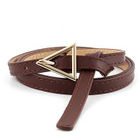 Girls Thin Leather Belt With Triangle Metal Buckle - Coffee