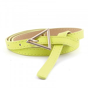 Girls Thin Leather Belt With Triangle Metal Buckle - Green