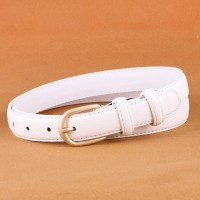 Woman Simple Jeans Belt With Gold Buckle - White