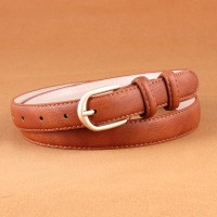 Woman Simple Jeans Belt With Gold Buckle - Light Brown