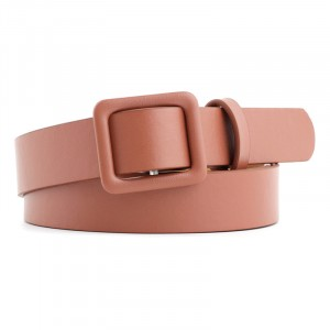 Gilrs Non Perforated Belt With Square Buckle - Light Brown