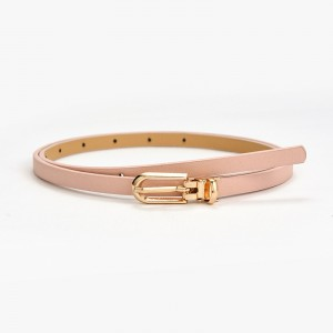 Gilrs Simple Belt With Golden Buckle - Pink