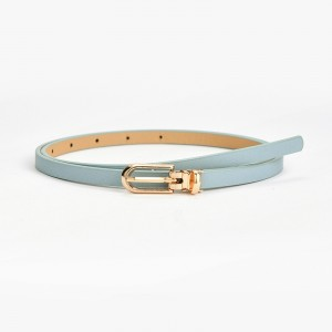 Gilrs Simple Belt With Golden Buckle - Sky Blue