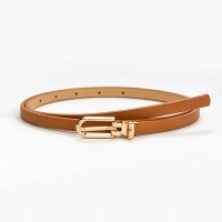 Gilrs Simple Belt With Golden Buckle - Light Brown