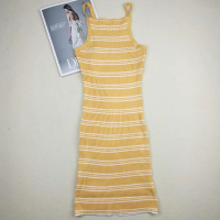 Strap Shoulder Printed Casual Wear Body Fitted Dress - Yellow