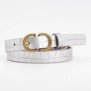 Ladies Fashion Stone Pattern Decorated Jeans Belt - Silver