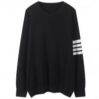 Contrast Striped V Neck Winter Wear Jumper Top - Black