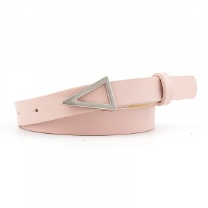 Silver Triangle Buckle Candy Color Ladies Thin Belt -Pink
