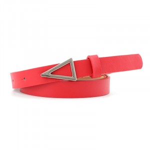 Silver Triangle Buckle Candy Color Ladies Thin Belt -Red