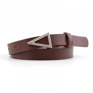 Silver Triangle Buckle Candy Color Ladies Thin Belt - Coffee
