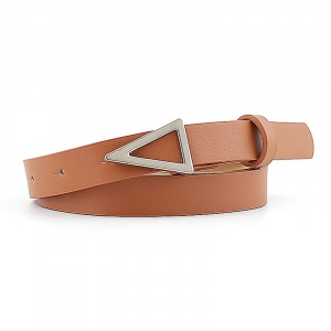 Silver Triangle Buckle Candy Color Ladies Thin Belt - Light Brown