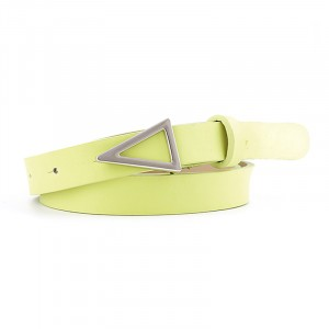 Silver Triangle Buckle Candy Color Ladies Thin Belt - Green
