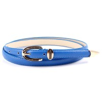 Ladies Vintage Gold Buckle Thin Belt - Blue