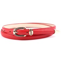 Ladies Vintage Gold Buckle Thin Belt - Red