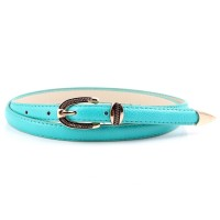 Ladies Vintage Gold Buckle Thin Belt - Sea Green