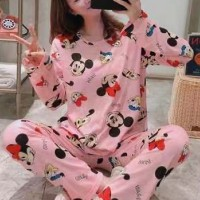 Round Neck Cartoon Prints Two Pieces Sleepwear Night Pajama Sets - Black Pink