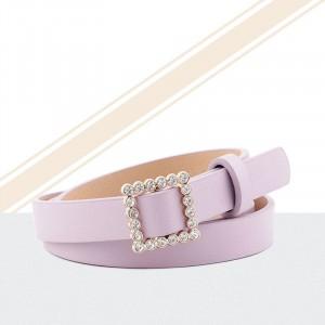 Ladies Rhinestone Buckle Fashion Belt - Pink