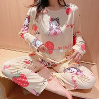 Round Neck Cartoon Prints Two Pieces Sleepwear Night Pajama Sets - Cream White