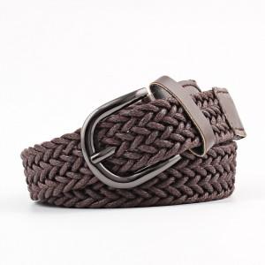 Ladies Twist Wax Rope Braided Belt - Coffee