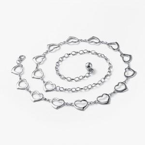 Girls Fashion Heart Decoration Metal Belt - Silver