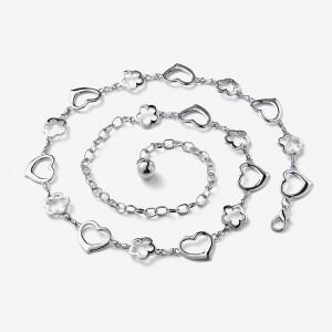Girls Fashion Heart And Flower Decoration Metal Belt - Silver