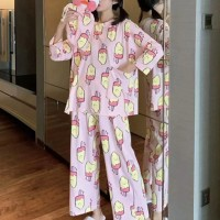 Round Neck Ice Cream Prints Two Pieces Nightwear Sleep Pajama Sets