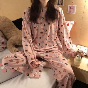 Round Neck Printed Two Pieces Nightwear Sleep Pajama Sets