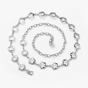 Girls Fashion Flower Decoration Metal Belt - Silver