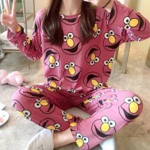 Cartoon Prints Round Neck Two Piece Sleepwear Pajama Sets