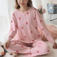 Printed Round Neck Two Piece Sleepwear Pajama Sets - Light Pink
