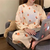 Printed Oranges Round Neck Two Piece Sleepwear Pajama Sets - Light Orange