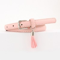 Girls Wild Fashion Tassel Pendant Thin Belt - Pink