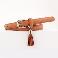 Girls Wild Fashion Tassel Pendant Thin Belt - Light Brown