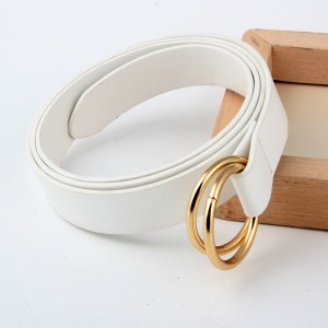 Double Ring Round Buckle Personalized Knotted Belt - White