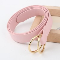 Double Ring Round Buckle Personalized Knotted Belt - Pink